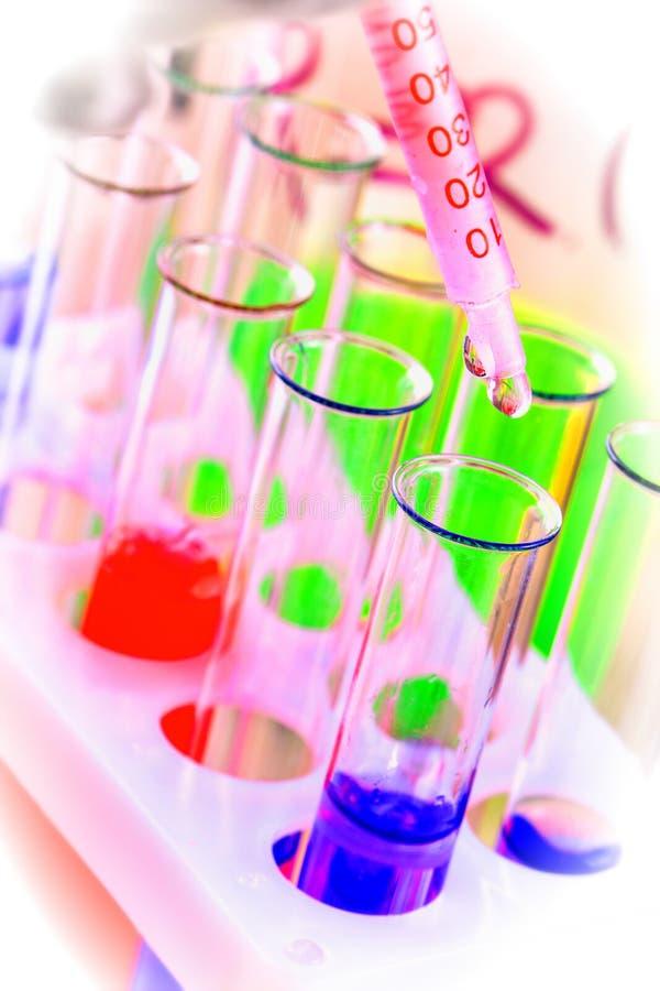 Os tubos de ensaio e as garrafas com l?quido colorido em um laborat?rio imagens de stock royalty free