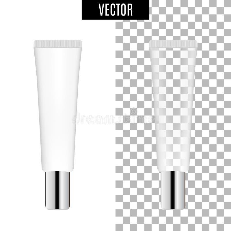 os tubos vazios do ícone cosmético realístico branco do pacote 3d no fundo transparente vector a ilustração Branco realístico ilustração stock