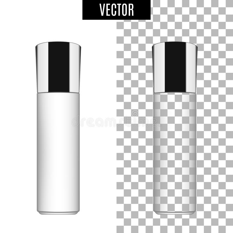 os tubos vazios do ícone cosmético realístico branco do pacote 3d no fundo transparente vector a ilustração Branco realístico ilustração royalty free
