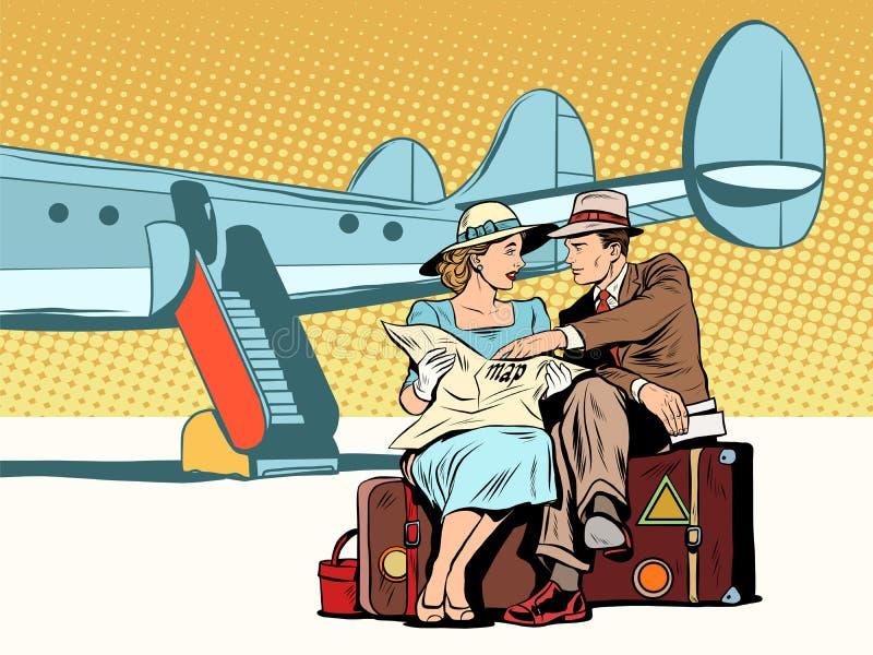 Os turistas acoplam a vista do mapa, após a aterrissagem ilustração stock
