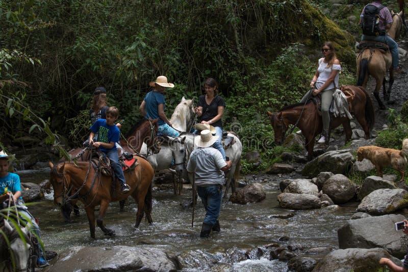 Os turistas no cavalo suportam o cruzamento de um rio na selva imagens de stock