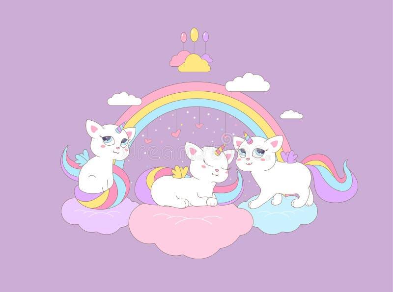 Os unicórnios bonitos dos gatinhos sentam-se nas nuvens sob o arco-íris ilustração stock