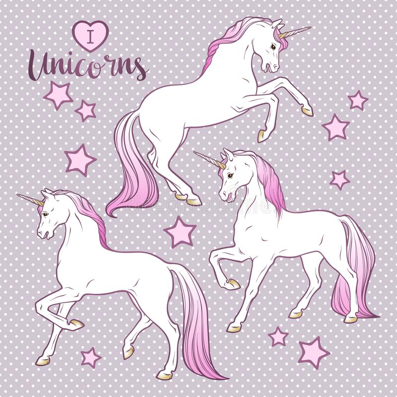 Os unicórnios e as estrelas mágicos ajustaram o projeto tirado mão para crianças na ilustração do vetor das cores pastel ilustração royalty free
