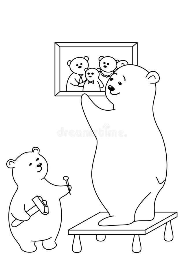 Os ursos anexam um retrato, contornos ilustração stock
