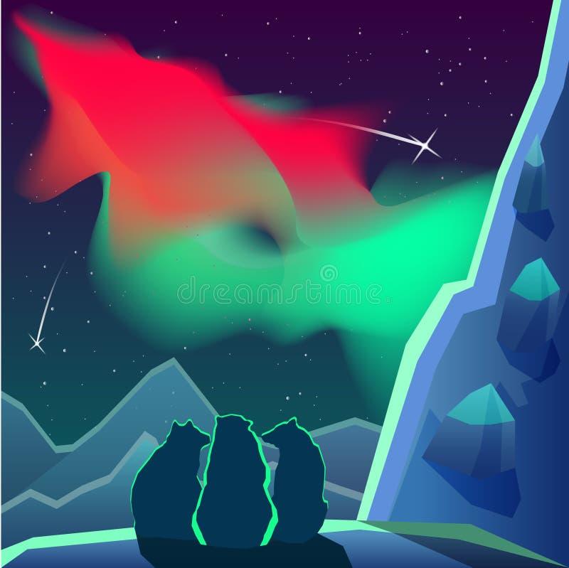 Os ursos estão sentando-se em uma montanha que olha a aurora boreal ilustração do vetor