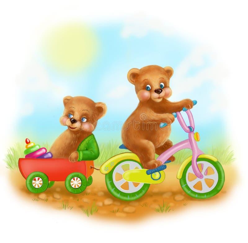 Os ursos novos felizes dos desenhos animados da ilustração montam uma bicicleta ilustração royalty free