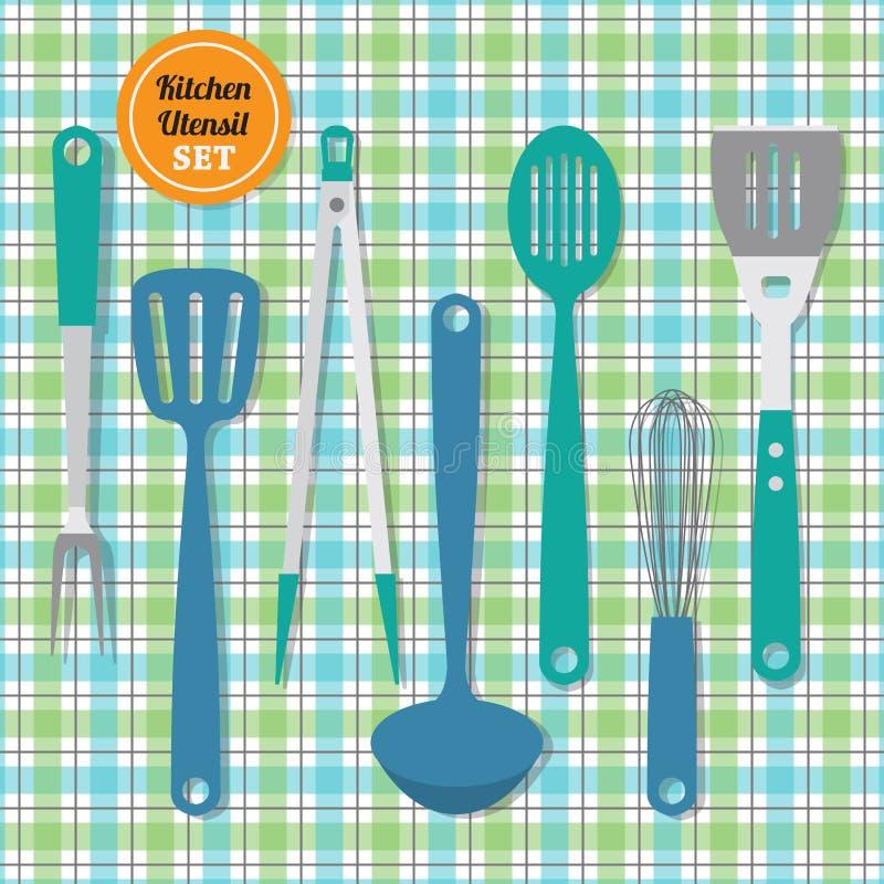 Os utensílios da cozinha ajustaram ícones no fundo azul e verde do teste padrão da manta ilustração royalty free