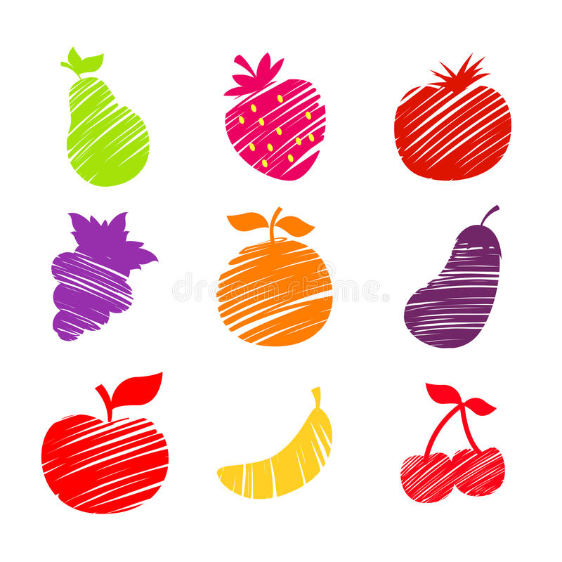 Os vários frutos esboçaram a ilustração ilustração stock