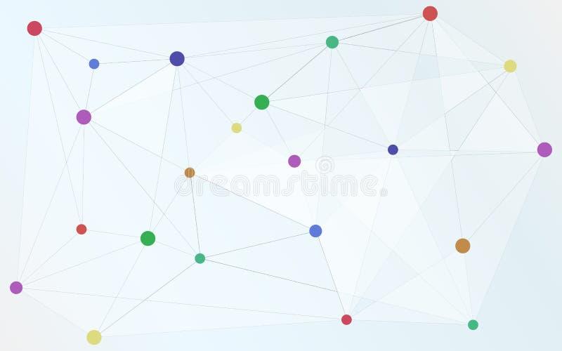 Os vários pontos coloridos conectaram com a forma do triângulo, conexão, ilustração do vetor