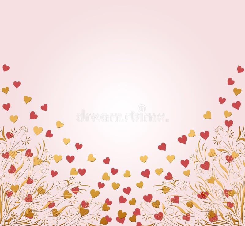 Os Valentim cardam com corações ilustração do vetor