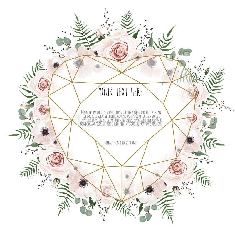 Os Valentim cardam no fundo branco com tensão de flores poligonais do coração e da mola ilustração do vetor