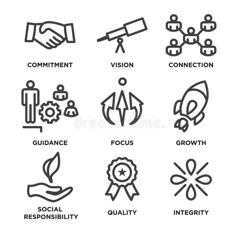 Os valores do núcleo esboçam/linhas ícone que transporta a integridade - finalidade ilustração do vetor