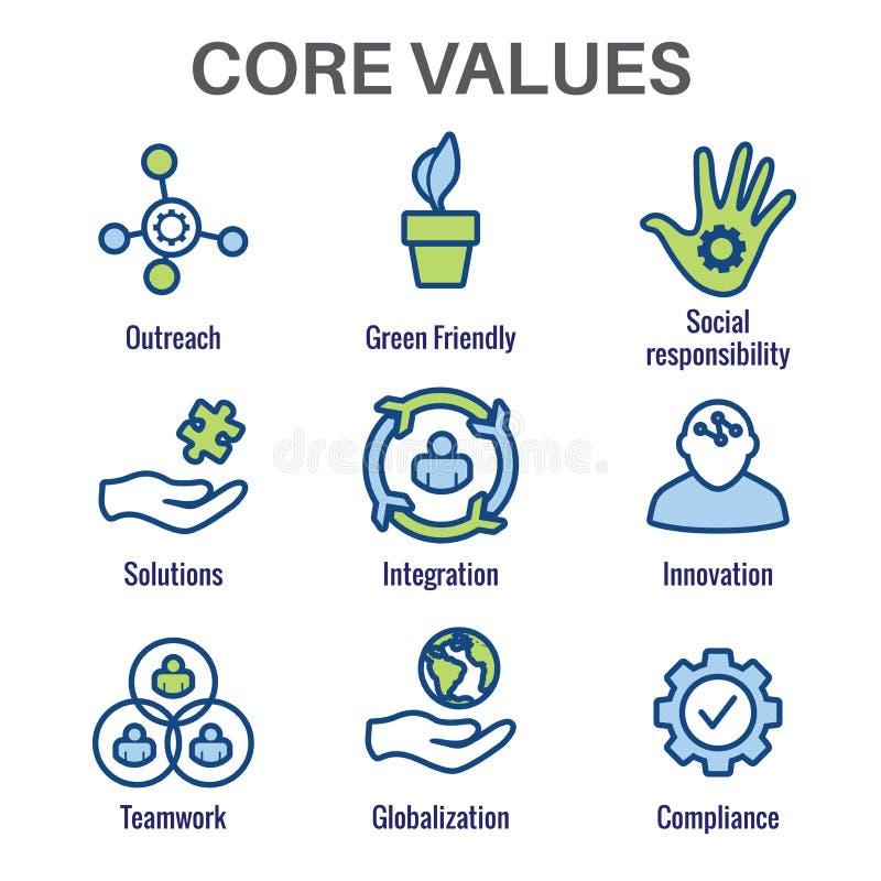 Os valores do núcleo esboçam/linhas ícone que transporta a integridade - finalidade ilustração stock