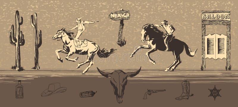 Os vaqueiros ocidentais selvagens montam cavalos e disparam em armas Ilustração da perseguição do bandido do vetor pintada pela t ilustração do vetor