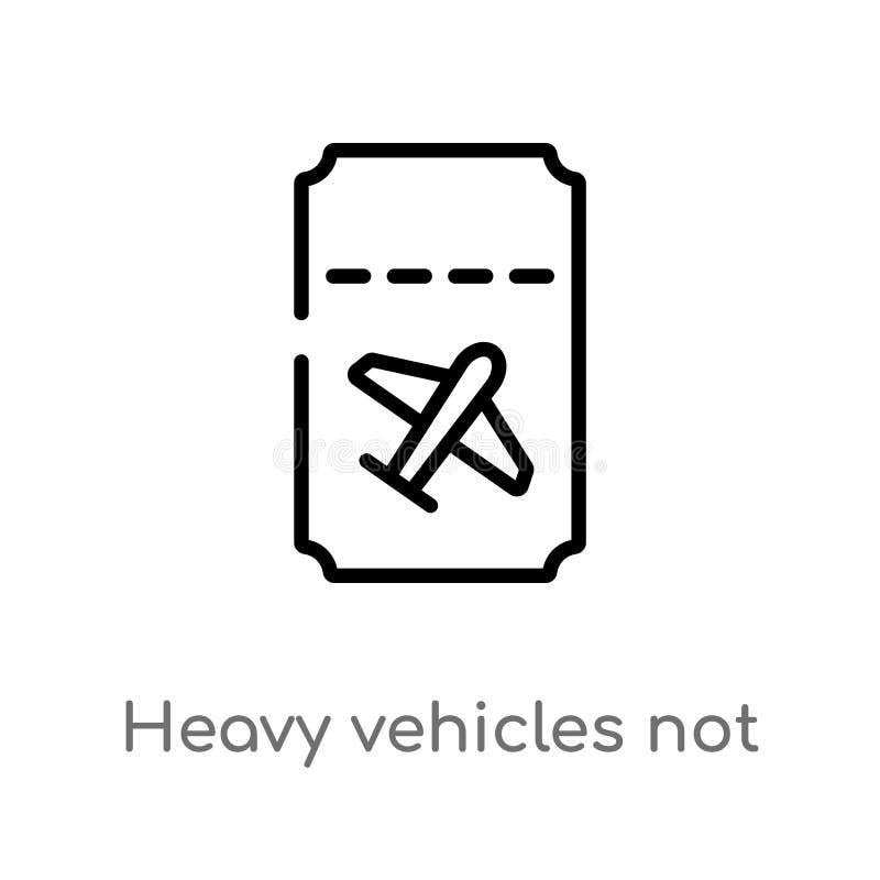 os veículos pesados do esboço não permitiram o ícone do vetor linha simples preta isolada ilustração do elemento do conceito do t ilustração do vetor