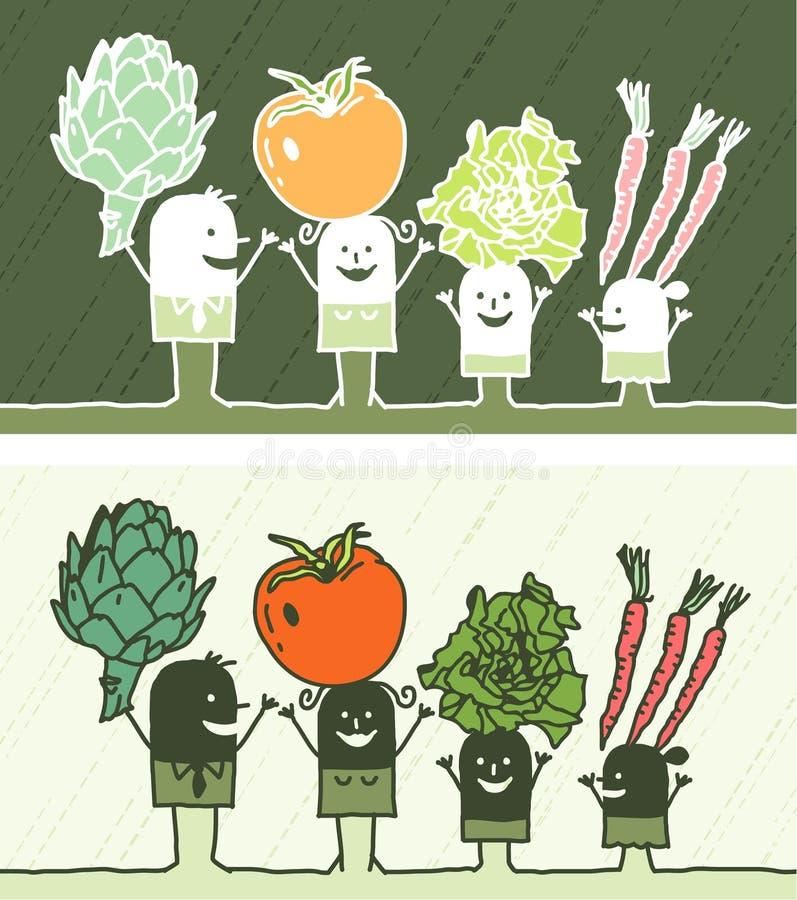Os vegetais coloriram desenhos animados ilustração do vetor