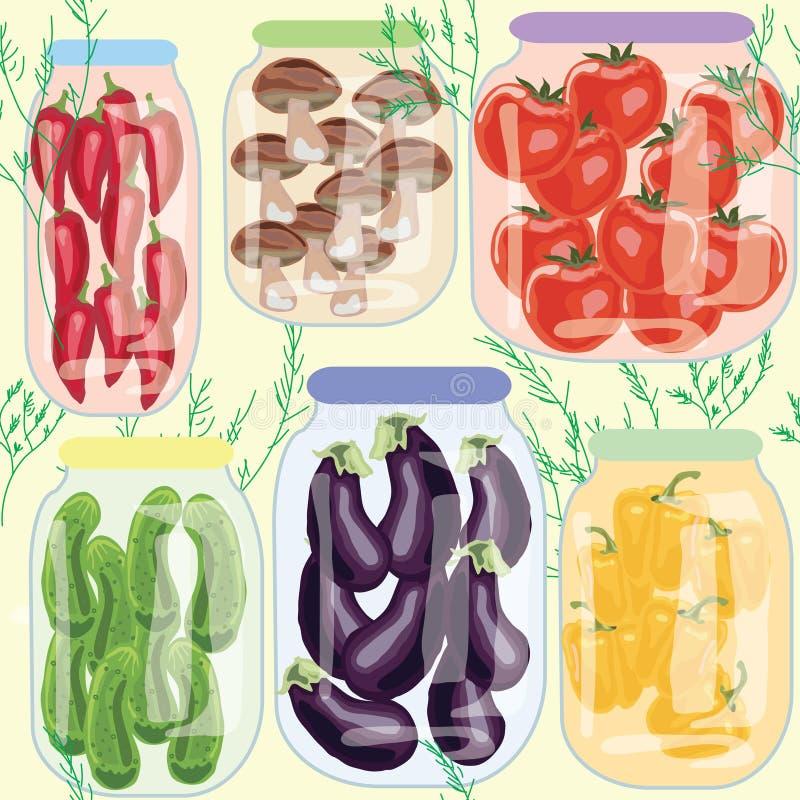 Os vegetais conservados sortidos em umas latas salpicam a beringela dos tomates do pepino dos cogumelos ilustração do vetor