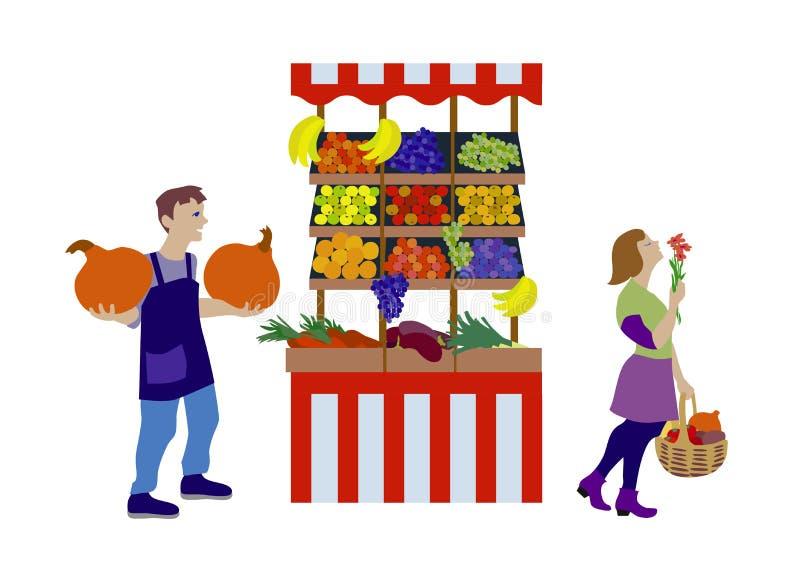 Os vegetais da venda de fazendeiros produzem na tenda no projeto liso ilustração royalty free