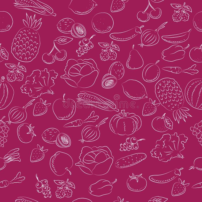 Os vegetais e frutificam esboçado tirado mão do teste padrão das garatujas ilustração do vetor
