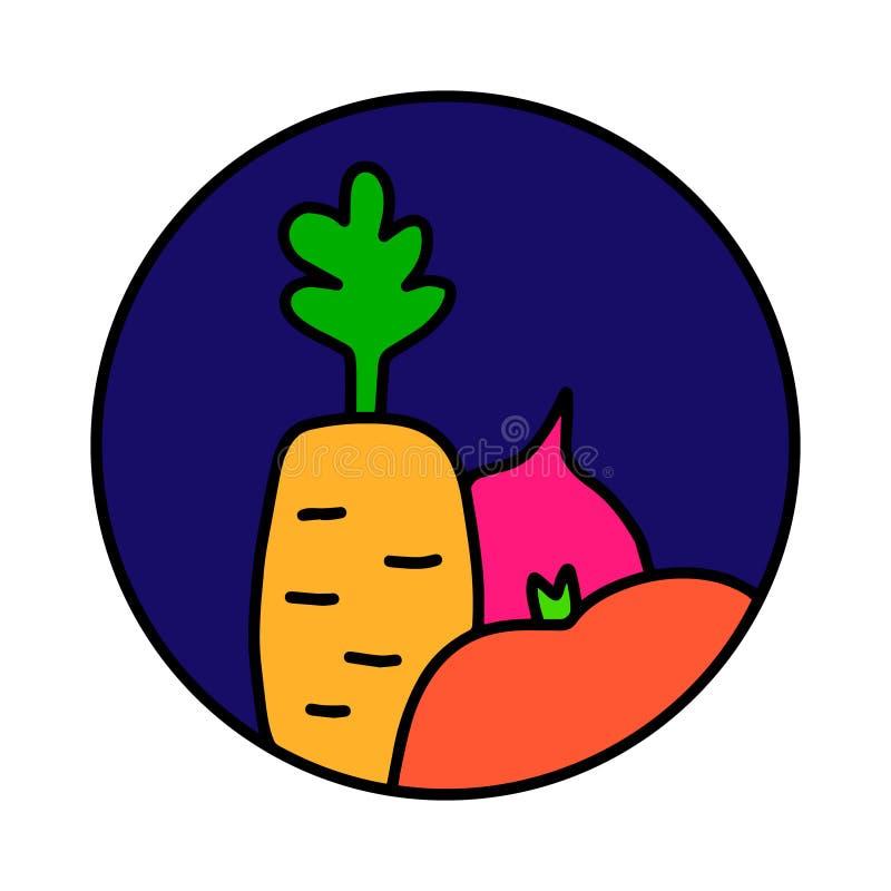 Os vegetais entregam o logotipo tirado do logotype para as camisas dos cartazes t das cópias que marcam o vegetariano que da barr ilustração do vetor
