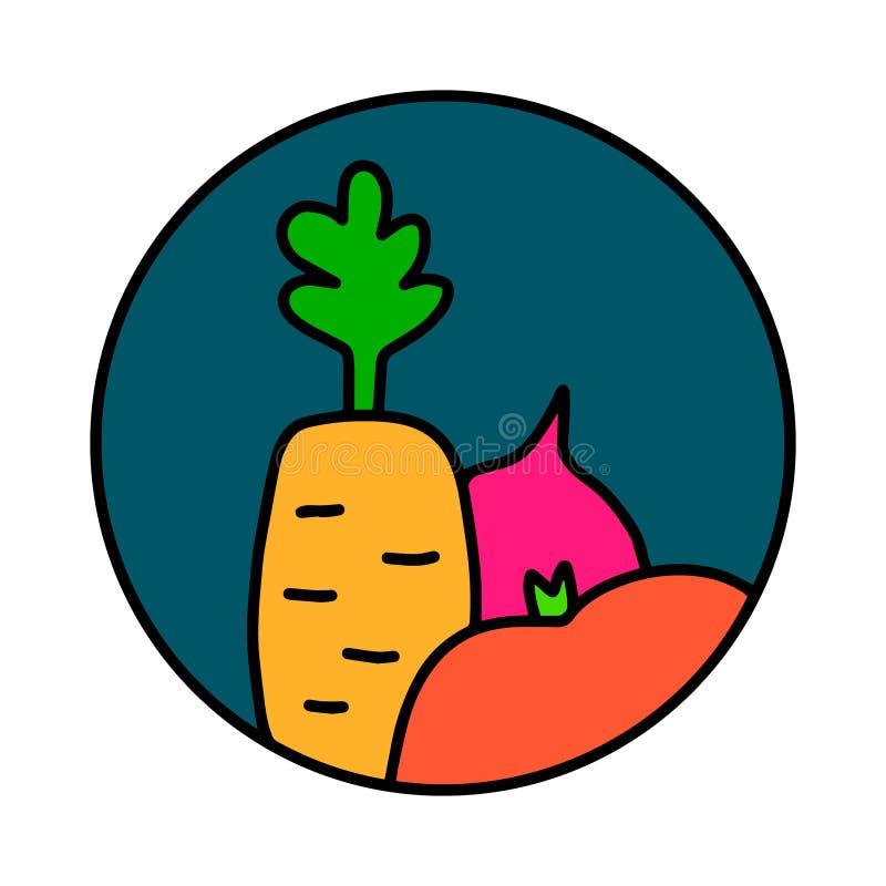 Os vegetais entregam o logotipo tirado do logotype para as camisas dos cartazes t das c?pias que marcam o vegetariano que da barr ilustração stock