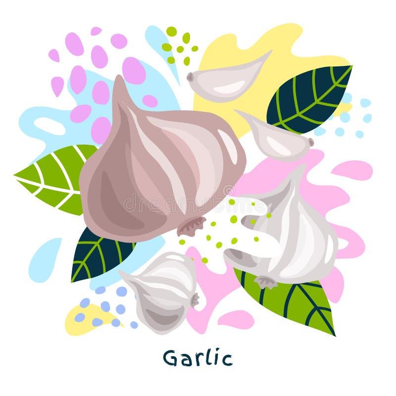 Os vegetais suculentos do alimento biológico fresco do respingo do suco vegetal do alho salpicam coloful abstrato chapinham o vet ilustração do vetor