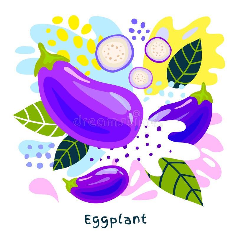 Os vegetais suculentos do alimento biológico fresco do respingo do suco vegetal da beringela salpicam o vetor abstrato do fundo ilustração do vetor
