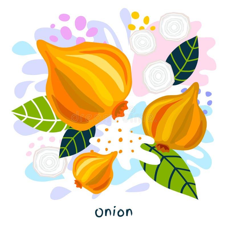 Os vegetais suculentos do alimento biológico fresco do respingo do suco vegetal da cebola salpicam coloful abstrato chapinham o v ilustração royalty free