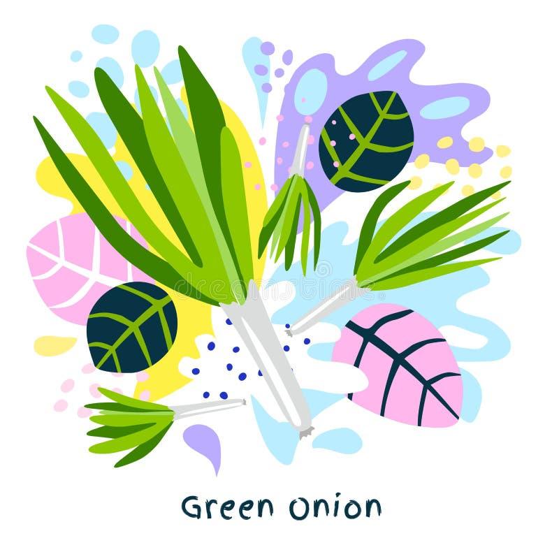 Os vegetais suculentos do alimento biológico fresco do respingo do suco vegetal de cebola verde salpicam o vetor abstrato do fund ilustração royalty free