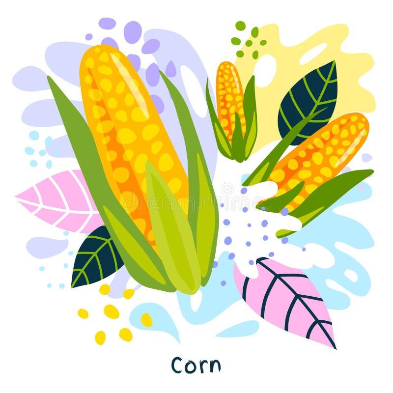 Os vegetais suculentos do alimento biológico fresco do respingo do suco vegetal do milho salpicam o vetor abstrato do fundo ilustração do vetor