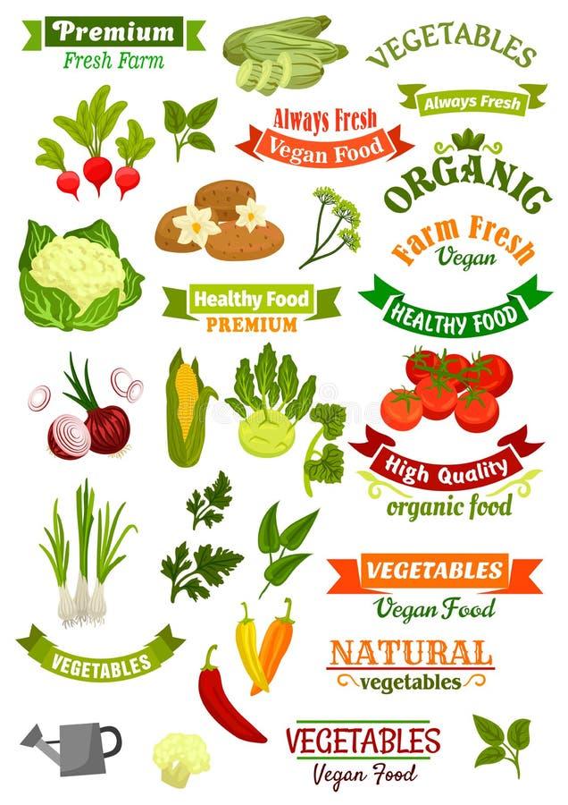 Os vegetais vector as fitas isoladas do vegetariano dos ícones ajustadas ilustração royalty free