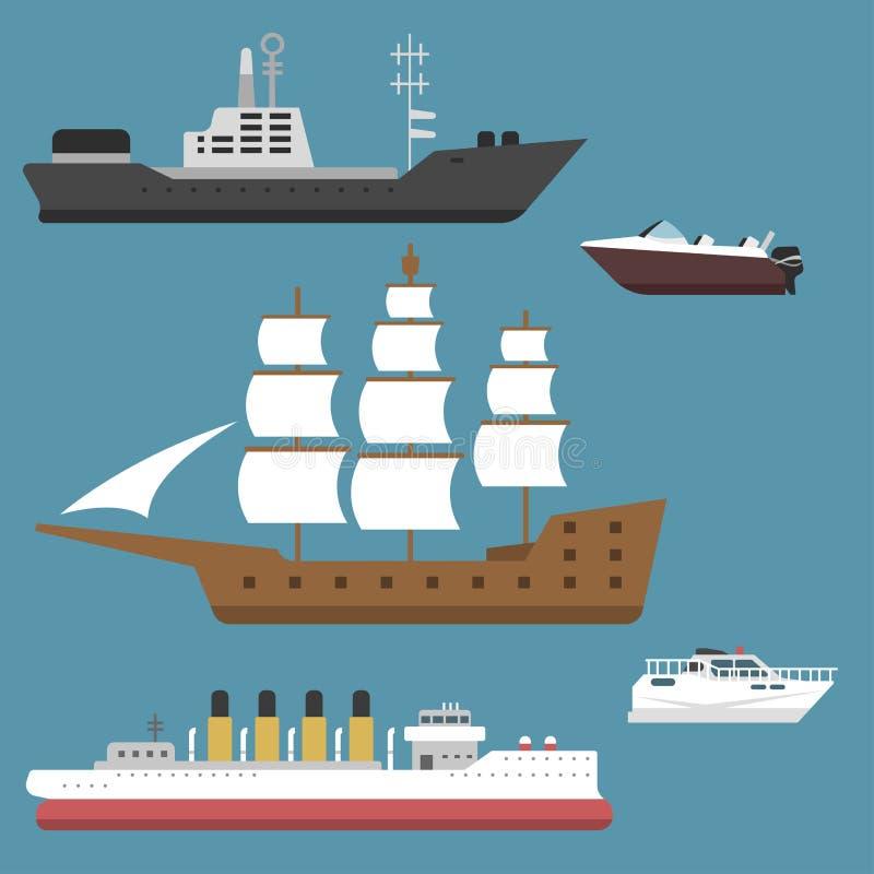 Os veleiros do vetor da indústria de viagens da embarcação do símbolo do mar do barco do cruzador do navio cruzam grupo de ícone  ilustração royalty free