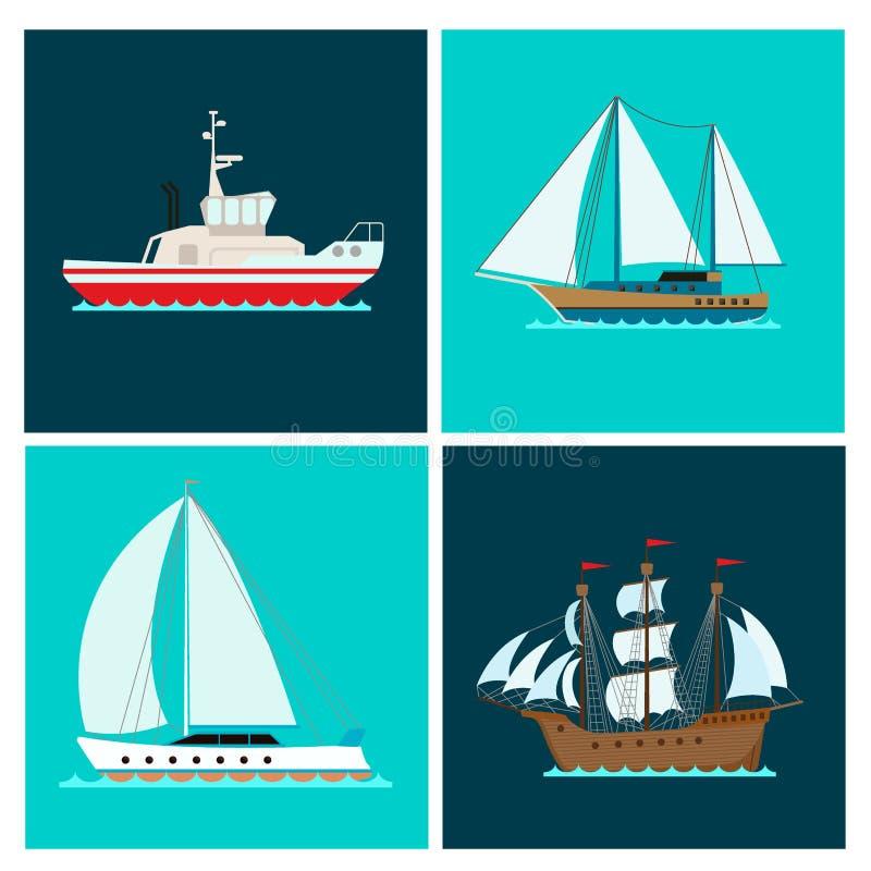Os veleiros do vetor da indústria de viagens da embarcação do folheto do mar do barco do cruzador do navio cruzam grupo de cartõe ilustração stock