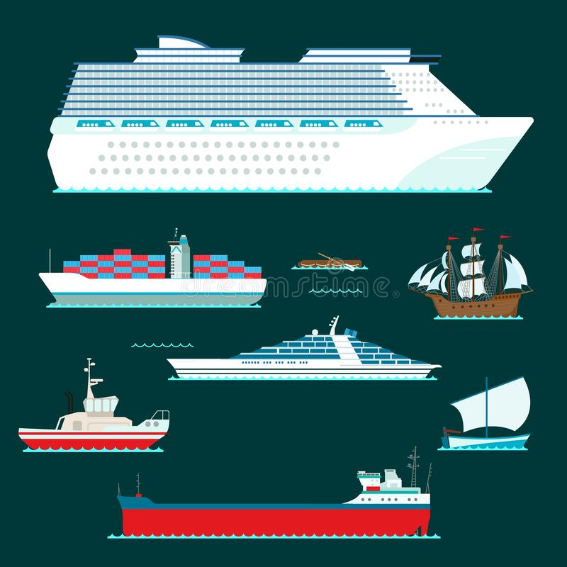 Os veleiros do vetor da indústria de viagens da embarcação do símbolo do mar do barco do cruzador do navio cruzam grupo de ícone  ilustração stock