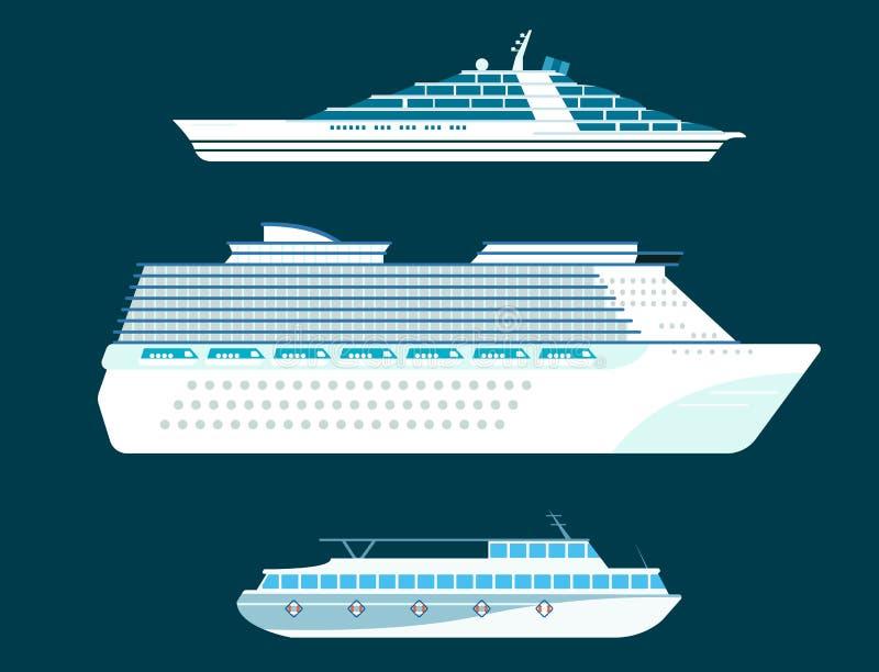 Os veleiros do vetor da indústria de viagens da embarcação do símbolo do mar do barco do cruzador do navio cruzam grupo de ícone  ilustração do vetor