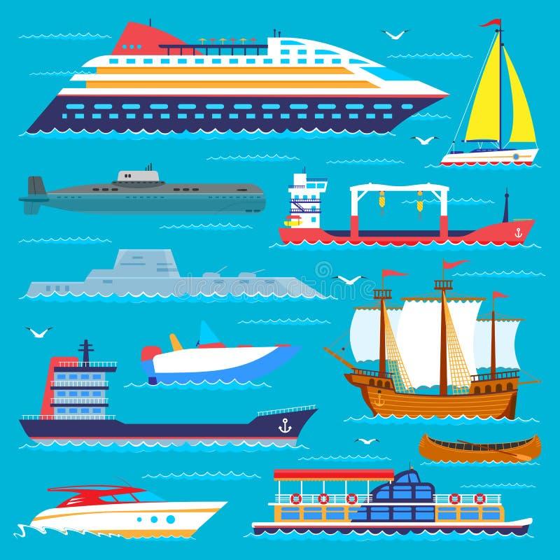 Os veleiros do vetor do curso da embarcação do símbolo do transporte de mar do barco do cruzador do navio cruzam grupo de fuzilei ilustração stock