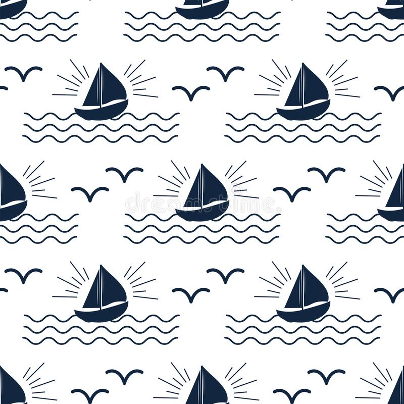 Os veleiros sem emenda do vetor da indústria de viagens da embarcação do teste padrão do mar do barco do cruzador do navio cruzam ilustração royalty free