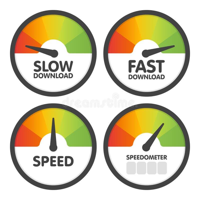 Os velocímetros redondos ajustaram-se com transferência da velocidade lenta e rápida Ilustração do vetor ilustração stock