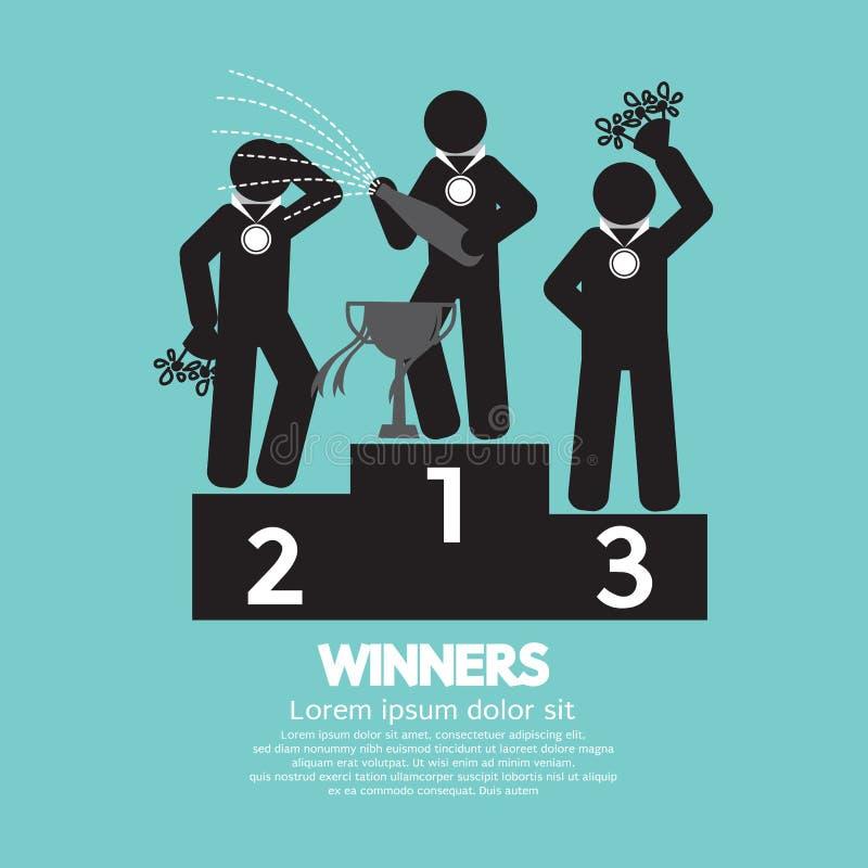 Os vencedores comemoram no pódio ilustração royalty free