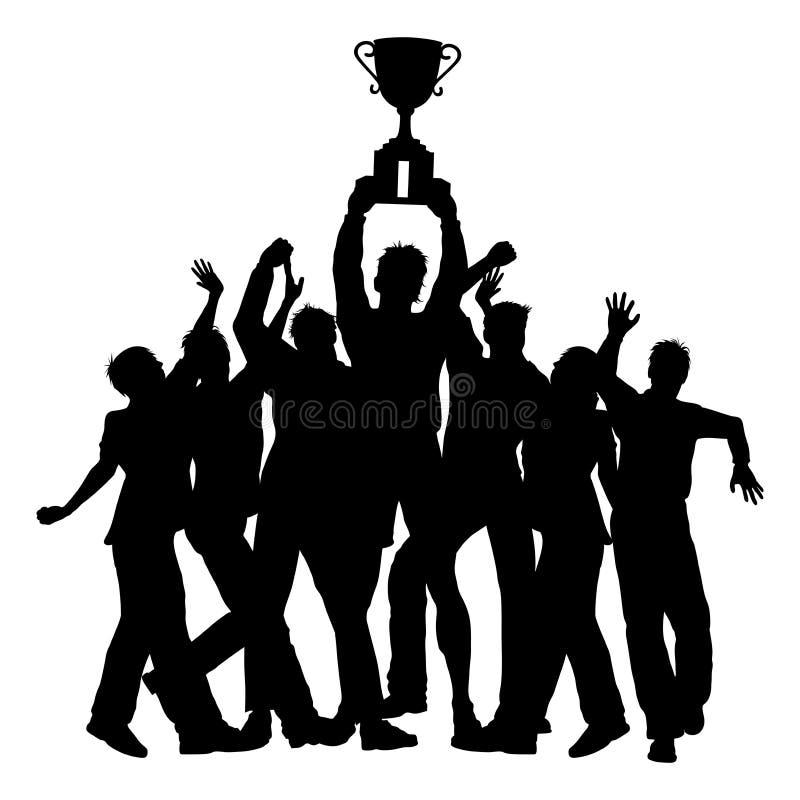Os vencedores do troféu comemoram a silhueta ilustração royalty free