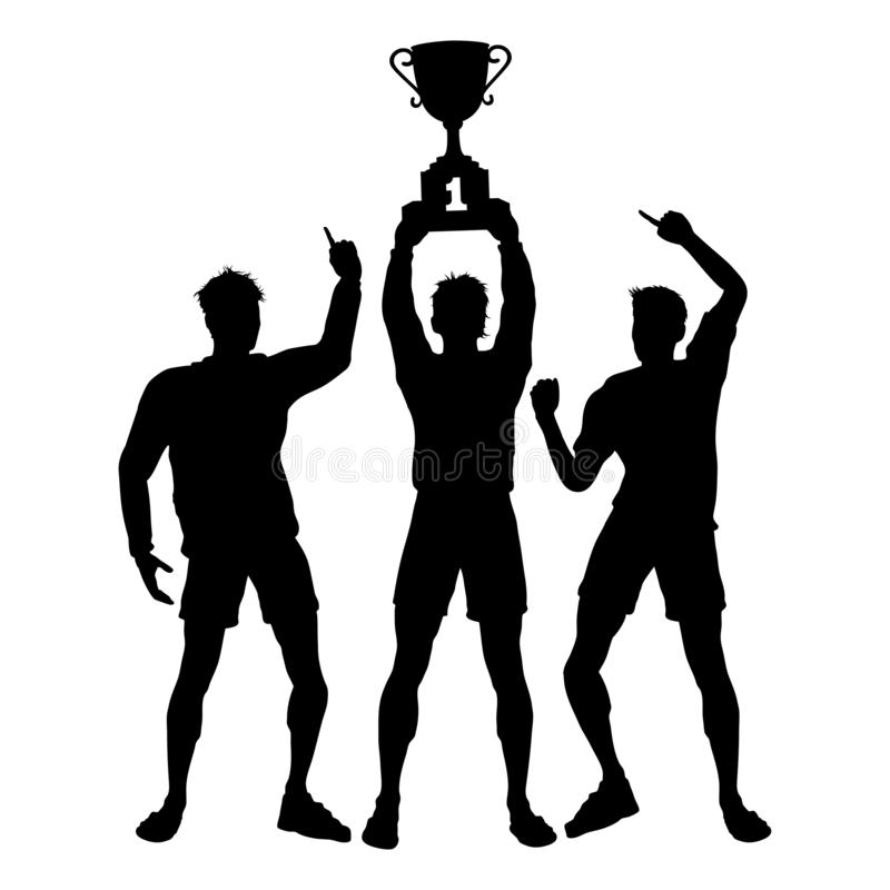 Os vencedores dos trabalhos de equipe do troféu comemoram ilustração royalty free