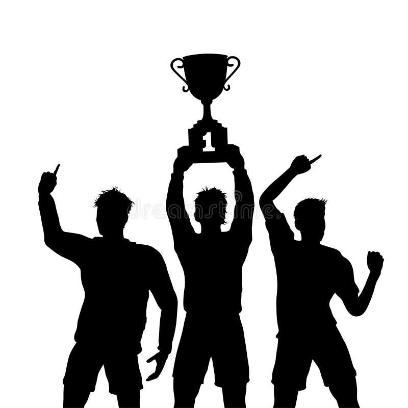 Os vencedores dos trabalhos de equipe do troféu comemoram ilustração stock