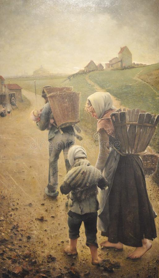 Os vendedores do giz - na noite, pintura por Léon Frédéric imagens de stock royalty free