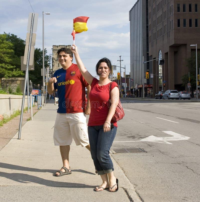 Os ventiladores espanhóis comemoram imagens de stock royalty free