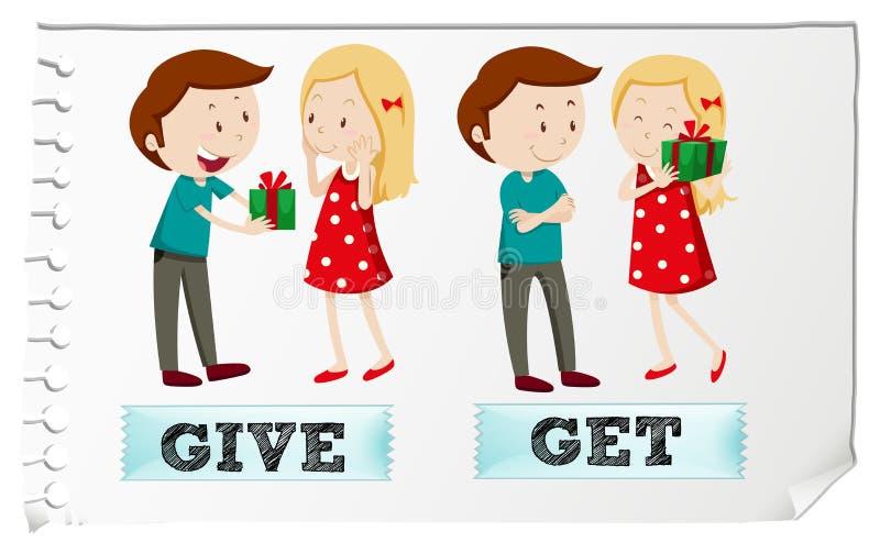 Os verbos da ação dão e obtêm ilustração stock