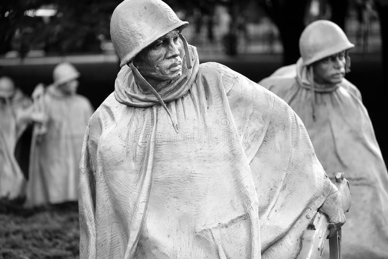 Os veteranos de Guerra da Coreia memoráveis em Washington D C fotografia de stock