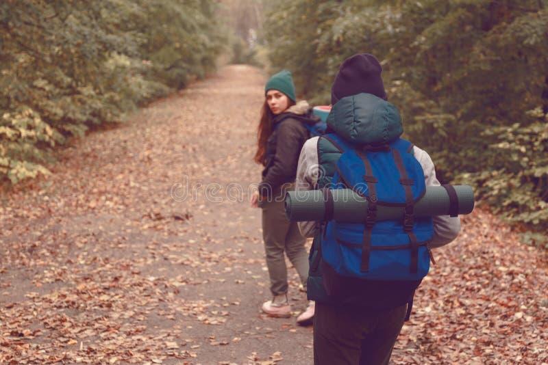 Os viajantes das amigas com trouxas foram caminhar nas madeiras fotos de stock