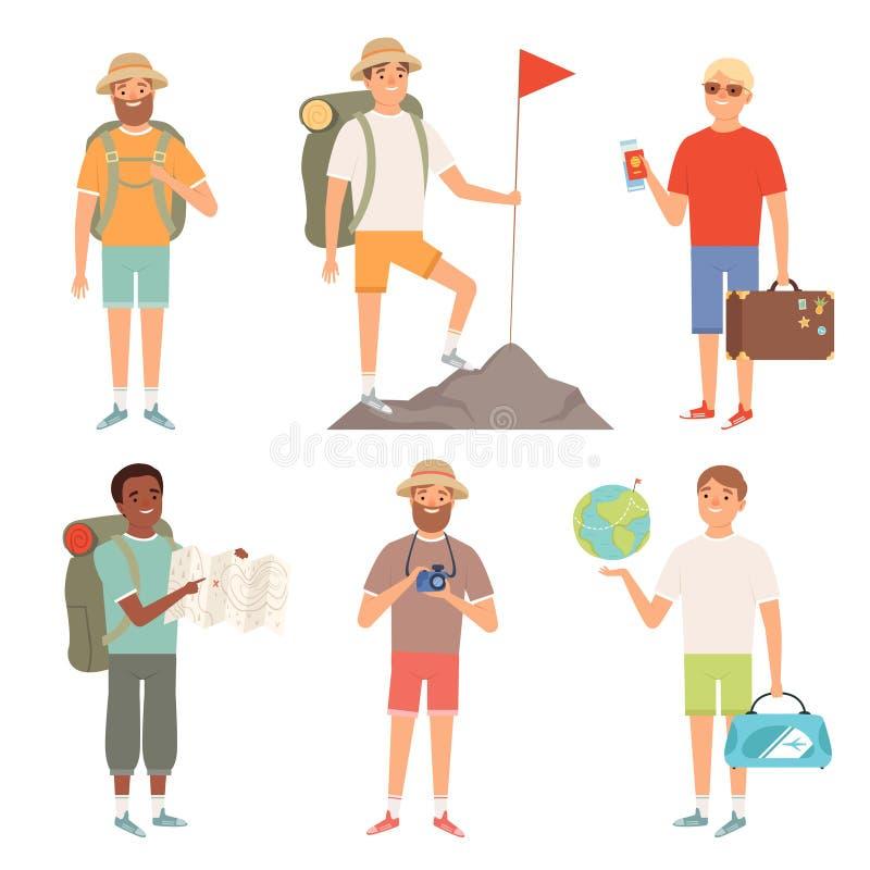 Os viajantes exteriores dos caráteres do turista que caminham povos do vetor do mochileiro aventuram-se a coleção ilustração do vetor