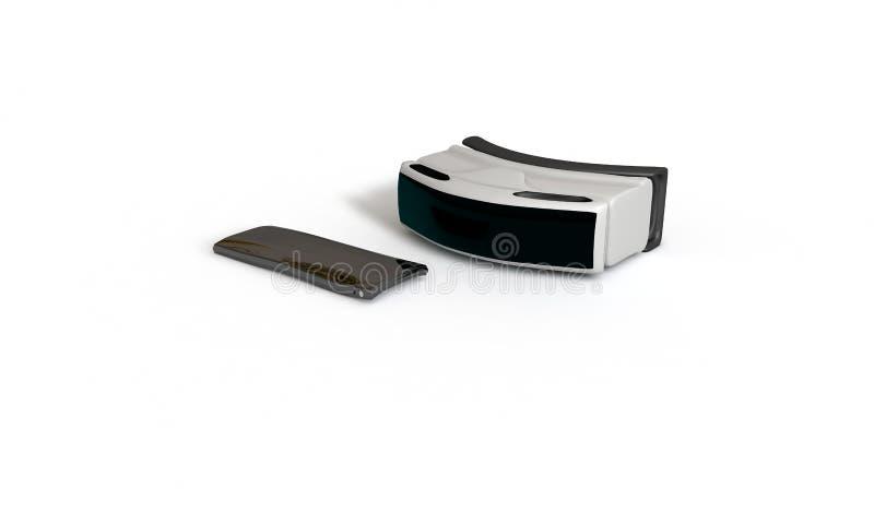 Os vidros da realidade virtual e o conceito 3d do telefone de mobil rendem ilustração do vetor