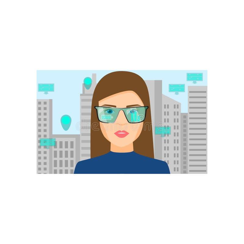 Os vidros da realidade virtual mostram a informa??o sobre a constru??o da cidade ilustração do vetor